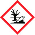 GHS hazard sign for environmental hazard (dead fish and tree in a river inside a red diamond)